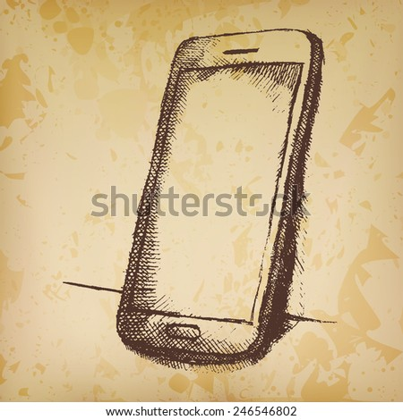 Hand drawn sketch of mobile phone with shadow on old paper. - stock vector