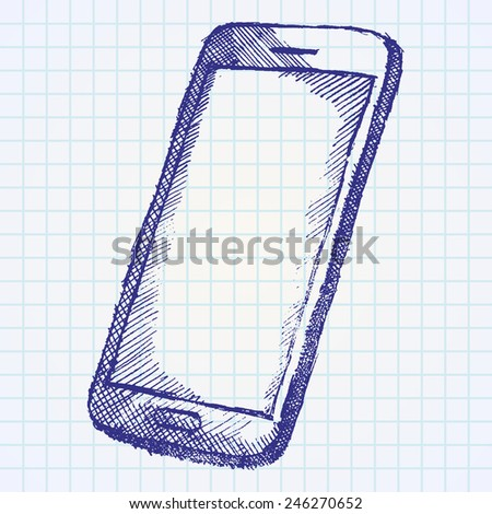 Hand drawn sketch of mobile phone with shadow on paper notebook. - stock vector