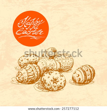 Hand drawn sketch of painted easter eggs. Vector vintage line art illustration on texture paper. Happy easter lettering in circle.  - stock vector