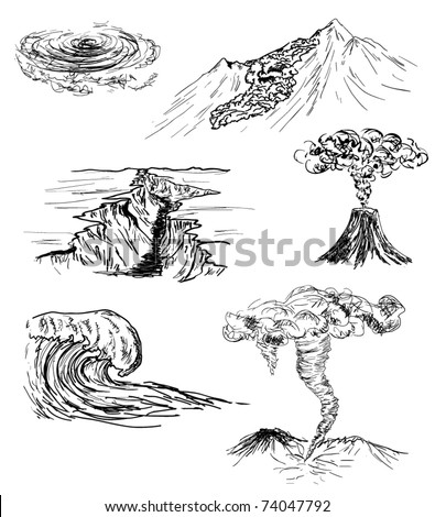 hand drawn sketch of six natural disasters - stock vector