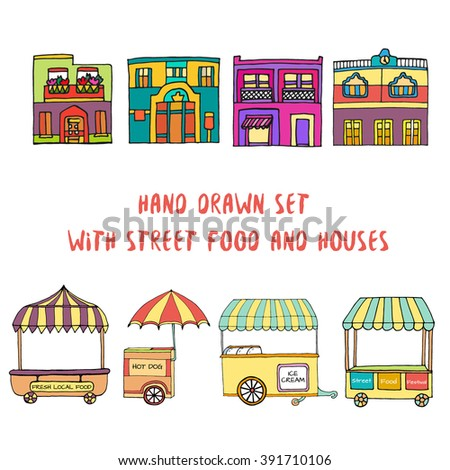 Hand drawn sketch of street food transport, mobile shops for street market festival and mexican houses. Colored sketch. Vector illustration. Transport for street shop and street houses. Kids style. - stock vector