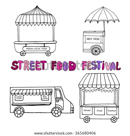 Hand drawn sketch of street food transport, mobile shops for street market festival. Black and white sketch. Vector illustration. Funny kids style. Transport for street shop - stock vector