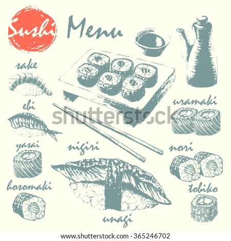 Hand drawn sketch of sushi roll, sushimi, soy sauce, chopsticks and serving. Asian food vector illustration. Japanese food menu background. - stock vector