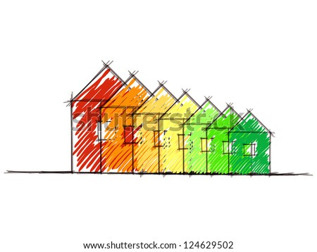 Hand drawn sketch of the diagram of house energy efficiency rating. Eps10 - stock vector