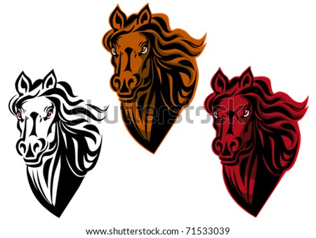 Hand-drawn sketch of the front view of a stallion mustang horses head with flowing mane, also for tattoo design. Jpeg version also available in gallery - stock vector