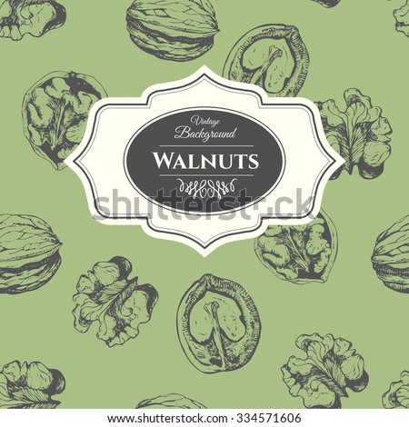 Hand-drawn sketch of walnuts. Seamless nature background. Fresh organic food. Vintage walnuts background. Black and white nut pattern. - stock vector