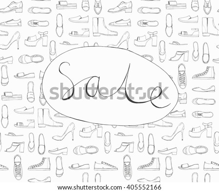 Hand drawn sketch seamless pattern of Shoes - running shoes sneakers, boots, ballet flats, flip flops, tractor sole shoes, loafer with lettering Sale. Design element. Coloring book vector - stock vector