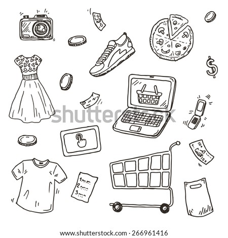 Hand drawn sketch set, E-commerce online shopping doodle icons collection - stock vector