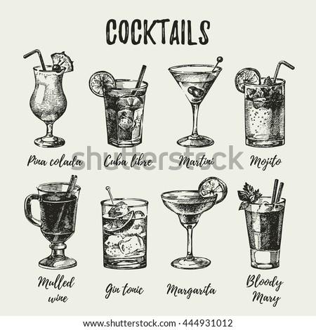 Hand drawn sketch set of alcoholic cocktails. Vintage vector illustration - stock vector