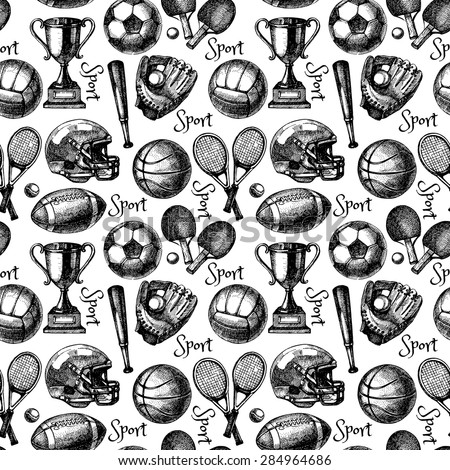Hand drawn sketch sport seamless pattern with balls. Vector illustration  - stock vector