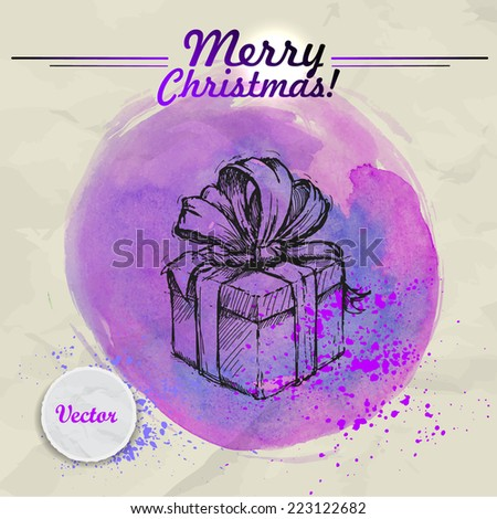 Hand drawn sketch style gift box with ribbon and bow on watercolor background. Christmas vintage illustration. - stock vector