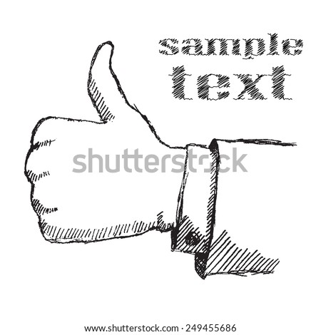 Hand drawn sketch thumbs up hand isolated on white background - stock vector