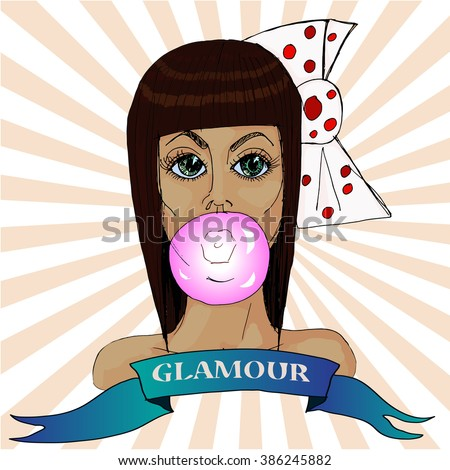 Hand drawn  sketch. Vector illustration. Black and white portrait glamorous brown-haired girl with chewing gum. - stock vector