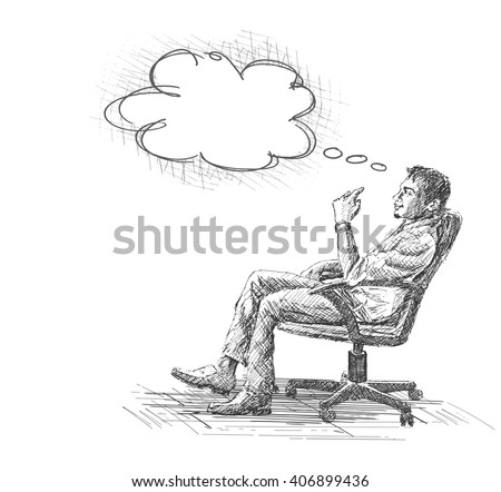 Hand Drawn sketch vector illustration of Thoughtful young businessman sitting on office chair.