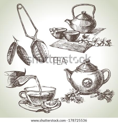 Hand drawn sketch vector tea set  - stock vector