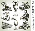 Hand drawn sketch vector wine set  - stock