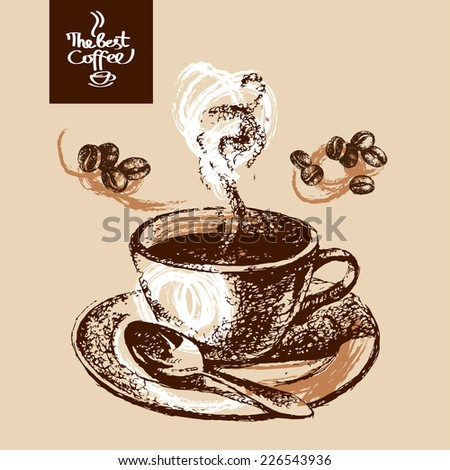 Hand drawn sketch vintage coffee background. Vector illustration. Menu design for cafe and restaurant - stock vector