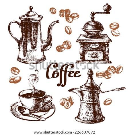 Hand drawn sketch vintage coffee set. Vector illustration. Menu design for cafe and restaurant - stock vector