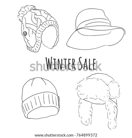 Hand drawn sketch winter hats vector set.