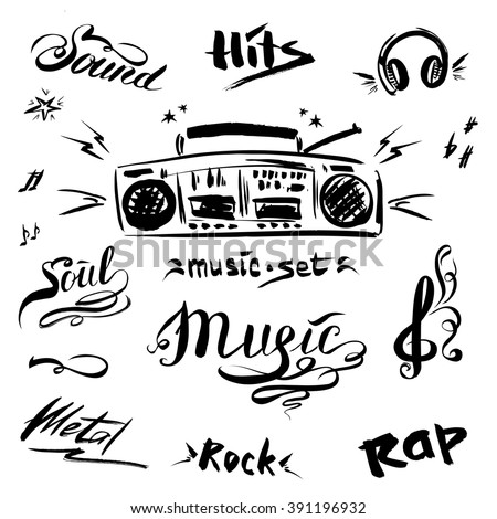 Hand drawn sketch with notes,  music player and music styles lettering signs, vector illustration - stock vector