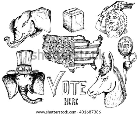 Hand drawn sketches.Elephant and donkey. Symbols of Democrats and Republicans political parties in United States. Illustration for election, debate America. USA flag, the ballot box, balloons, girl. - stock vector