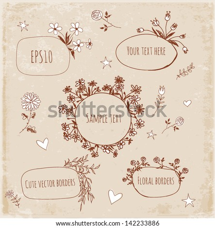 Hand-Drawn Sketchy Borders with Flowers and Plants in vintage style. Doodles Vector Illustration - stock vector