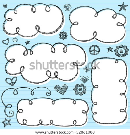 Hand-Drawn Sketchy Cloud Shaped Bubble Doodle Frames- Notebook Doodles on Blue Lined Paper Background- Vector Illustration - stock vector