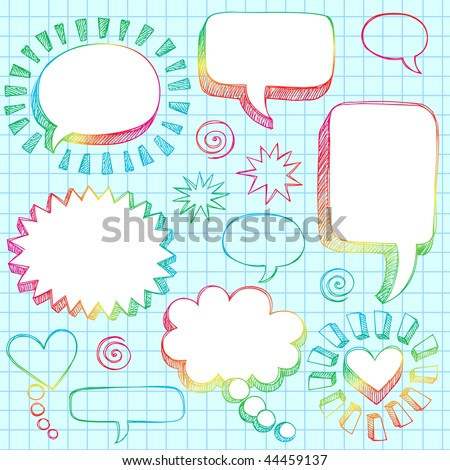Hand-Drawn Sketchy Comic Speech Bubble Frames Notebook Doodles on Lined Paper Background- Vector Illustration - stock vector