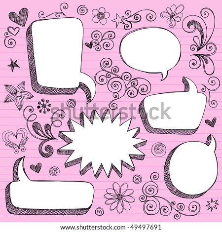 Hand-Drawn Sketchy 3-D Shaped Comic Book Style Speech Bubble Frames- Notebook Doodles on Lined Paper Background- Vector Illustration - stock vector