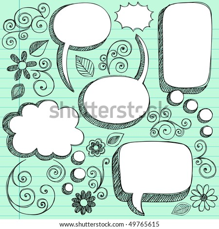 Hand-Drawn Sketchy 3D Shaped Comic Book Style Speech Bubbles- Notebook Doodles on Green Lined Paper Background- Vector Illustration - stock vector