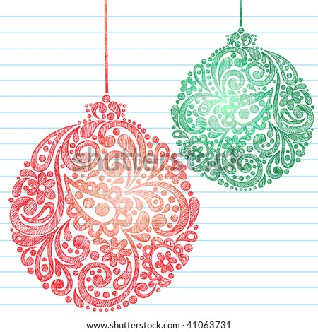 Hand-Drawn Sketchy Doodle Henna Paisley Pattern Christmas Ornaments on Lined Notebook Paper- Vector Illustration - stock vector