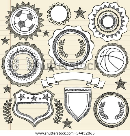 Hand-Drawn Sketchy Doodle Sports Crests and Patches Vector Illustration on Lined Notebook Paper Background - stock vector
