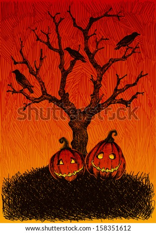 Hand drawn, sketchy, doodles Halloween background. - stock vector
