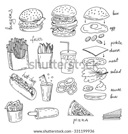 Hand-drawn sketchy fast food illustrations. Vector american food art. - stock vector