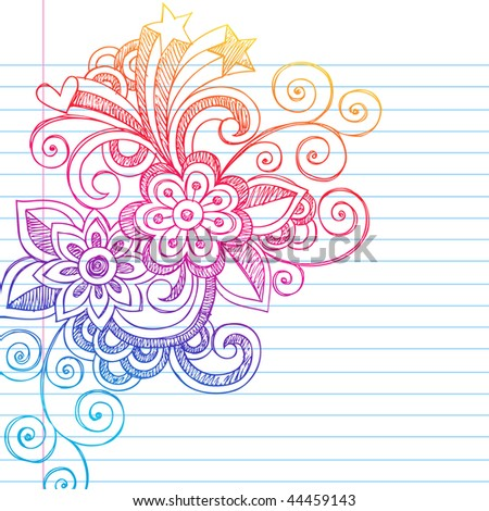 Hand-Drawn Sketchy Flowers and Swirls Notebook Doodles on Lined Paper Background- Vector Illustration - stock vector