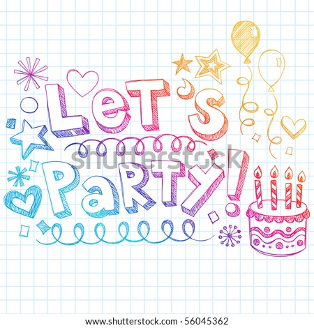Hand-Drawn Sketchy Let's Party 3D Lettering and Birthday Doodles Design Elements- Sketchy Notebook Doodles on Grid (Graph) Paper Background- Vector Illustration - stock vector
