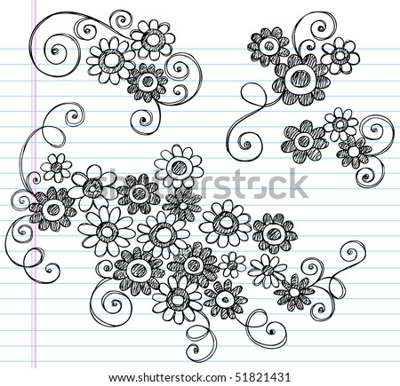 Hand-Drawn Sketchy Notebook Doodles of Flowers and Swirls- Vector Illustration on Lined Sketchbook Paper Background - stock vector