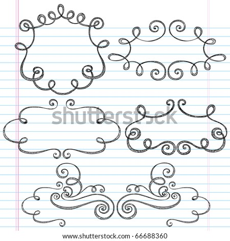 Hand-Drawn Sketchy Notebook Doodles Ornamental Borders with Swirls- Vector Illustration Design Elements on Lined Sketchbook Paper Background - stock vector