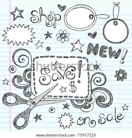 Hand-Drawn Sketchy Notebook Doodles Sale & Shopping Coupon & Apparel Tags Vector Illustration Design Elements on Lined Sketchbook Paper Background - stock vector