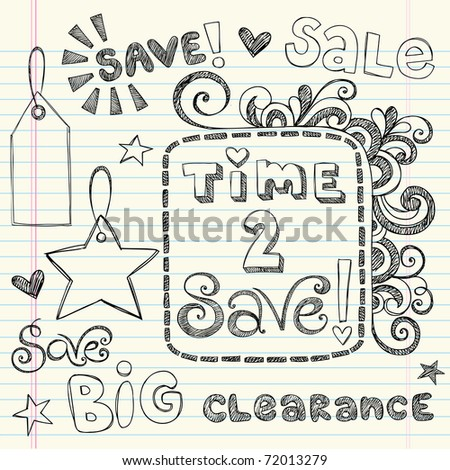 Hand-Drawn Sketchy Notebook Doodles Time to Save Sale & Shopping Coupon & Tags Vector Illustration Design Elements on Lined Sketchbook Paper Background - stock vector