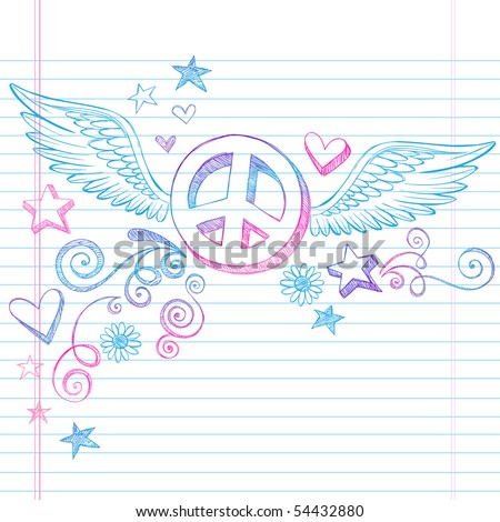 Hand-Drawn Sketchy Peace Sign Doodle with Angel Wings and 3D Stars on Lined Notebook Paper Background- Vector Illustration - stock vector