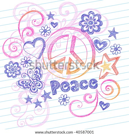 Hand-Drawn Sketchy Peace Sign Doodles with Butterfly, Hearts, Stars, and Lettering on Lined Notebook Paper Vector Illustration - stock vector
