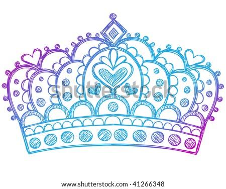 Hand-Drawn Sketchy Royalty Queen Crown Notebook Doodles Vector Illustration - stock vector