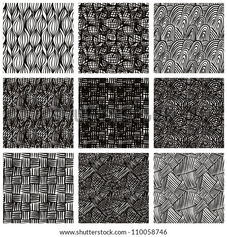 Hand drawn sketchy seamless patterns set, vector backgrounds collection. - stock vector