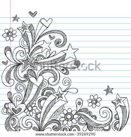 Hand-Drawn Sketchy Star and Heart Doodles on Lined Notebook Paper Vector - stock vector