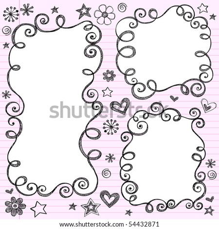 Hand-Drawn Sketchy Swirly Cloud Shaped Bubble Doodle Frames- Notebook Doodles on Pink Lined Paper Background- Vector Illustration - stock vector