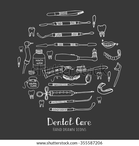Hand drawn sketchy vector dental care icons Health symbols Medical, doctor and dentist office symbols Oral care Dentist office Tooth health Dentist instruments doodle icons Sketch Brilliant smile - stock vector