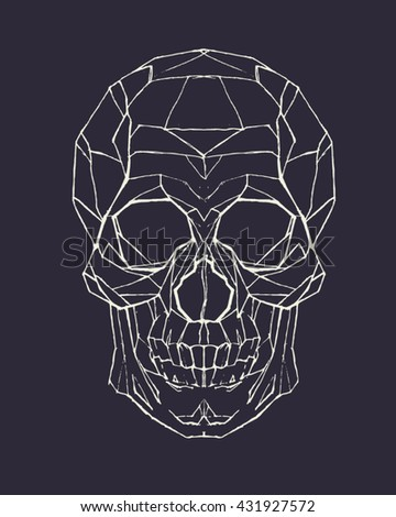 Hand drawn skull. Vector illustration.Skull tattoo Geometric icon. Clip art for design - stock vector