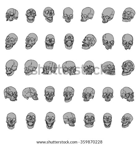 Hand Drawn Skulls Vector Pack