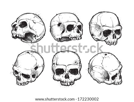 Hand-drawn skulls vector set. Grunge skulls. Vector illustration. - stock vector
